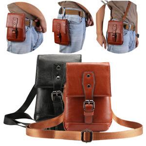 Men Retro PU Leather Shoulder Hiking Fanny Waist Travel Belt Purse Hip Pack Bag
