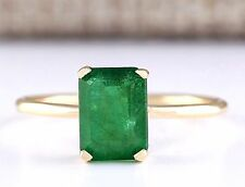 1.40CTW NATURAL EMERALD  RING IN 14K YELLOW GOLD