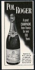 1952 Pol Roger champagne 1937 bottle photo vintage print ad