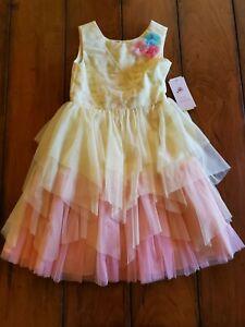 Jona Michelle Girls Dress Fancy Holiday-CD Yellow to Pink Sunrise Sz 7 NWT
