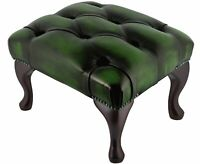 Chesterfield Deep Buttoned Queen Anne Footstool Antique Green Leather