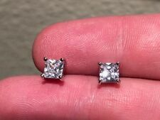 2ct Diamond Earrings 14K white perfect Gold finish Solitaire Studs