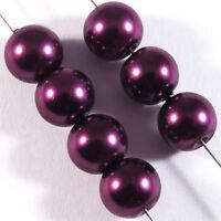 30 Perlen mit Perlmuttbeschichtet 8mm lila Pflaume Glas Böhmen