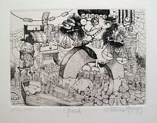 "CHARLES BRAGG ""GREED"" Hand Signed Limited Edition Etching RARE ART!"