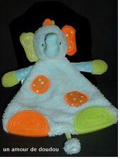Doudou Eléphant Baby sun Plat Bleu Anneaux Dentition Orange et Vert
