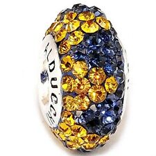 Authentic Alducchi Sapphire Blue-Citrine Crystal .925 Silver European Charm Bead