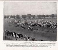 1897 Viktorianisch Aufdruck ~Kalkutta~ Racecourse Pferd Rennen & Zuschauer