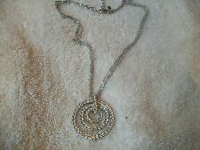 NOLAN MILLER NECKLACE Silvertone 3 Crystal Circles on 3 stands Chain. NEW