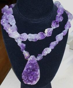 PURPLE AMETHYST DRUZY GEODE PENDANT AND BEADS NECKLACE BIG SPARKLY RAW BEADS
