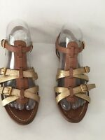 Miu Miu women flat strappy goldtone/taupe leather gladiator sandal - 36.5 us 6.5