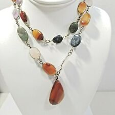 BEZEL SET GEMSTONE BEGGAR BEADED NECKLACE PENDANT AGATE ASSORTED BEADS ON WIRE