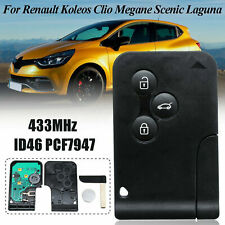 Remote Key for Renault Megane Smart Card 433MHZ ID46 PCF7947 Chip CR2032