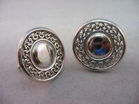 Nice See Through Round Circle Design Silver Ton Vintage Men's Cufflinks Jewelry