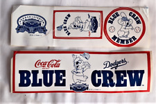 VINTAGE COCA COLA LOS ANGELES DODGERS BASEBALL BLUE CREW MEMBER STICKER SET OF 2