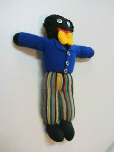 Hand knit wool African Africa American Black knitted Rag style Doll