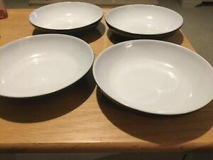 Denby Greenwich 4 x pasta or soup bowls.