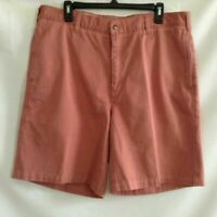 Orvis Mens Casual Shorts Cantaloupe Flat Front Pockets 100% Cotton 36