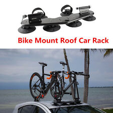 2 Bike Fork Mount Roof Car Rack With 2 Rear Wheel Straps Universal For Offroad