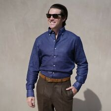 Epaulet Capri Collar Indigo Chambray Dots Shirt LARGE New