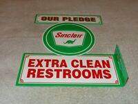"VINTAGE SINCLAIR OUR PLEDGE CLEAN RESTROOMS 11 3/4"" METAL GAS & OIL FLANGE SIGN!"