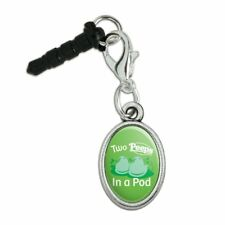Two Peeps In a Pod Mobile Cell Phone Headphone Jack Oval Charm