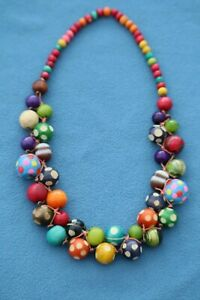 Beautiful Large Wood Bead Necklace Multi-Coloured