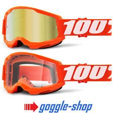 100% STRATA 2 MOTOCROSS MX BIKE MTB GOGGLES ORANGE CLEAR / MIRROR LENS