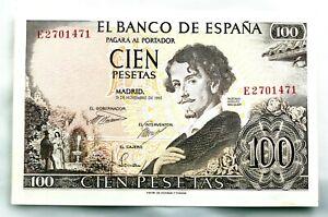 Spain-Billete. Gustavo Adolfo Becquer. 100 Pesetas. 1965. Serie E.  SC/UNC