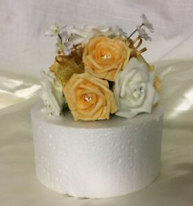 beautiful golden wedding flowers gold & ivory cake  topper