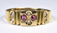 Antique Victorian 15ct Gold Ruby & Seed Pearl Ring, (c1880)