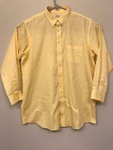 Izod Mens Tall 18 1/2 35/36 Shirt Button Down Long Slv Yellow Wrinkle Free R12