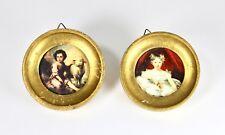 Vintage Small Framed Circular Picture Portrait Art Set Gold Leaf Victorian H0040