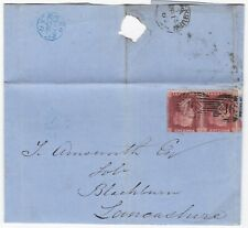 ! 1863 =46=46= DOUBLE NUMERAL LONDON TO T AINSWORTH BLACKBURN 1d STAR WRAPPER