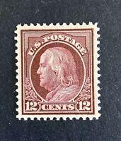 "US Stamp, Scott #417 12c 1914 ""Choice!"" Franklin 2019 PSAG Cert - GC XF 90"