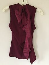 BANANA REPUBLIC SILK TIE CASHMERE BURGUNDY BLOUSE TOP womens SIZE S