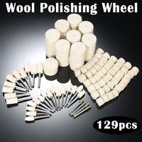 129x Felt Polishing Buffing Pads Wheel Wool Plastic Dremel Rotary Tool Kit Set