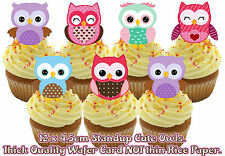 12 Edible Shabby Chic Cute Owl Mix Pink Stand Up Birthday wafer cup cake toppers
