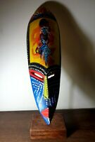 African Mask Handmade Wood Hand Carved Made Wall Authentic Tribal 1058