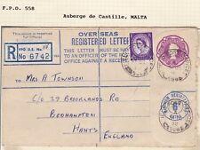 # 1958 FPO 558 AUBERGE DE CASTILLE MALTA OVERSEAS REGISTERED ENVELOPE >HAMPSHIRE