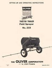 Oliver 233 Trailer Field Sprayer Operators Manual