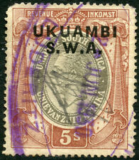 SOUTH WEST AFRICA SWA TRIBAL TAX UKUAMBI TALL FONT GV 5/- REVENUE DUTY TAX