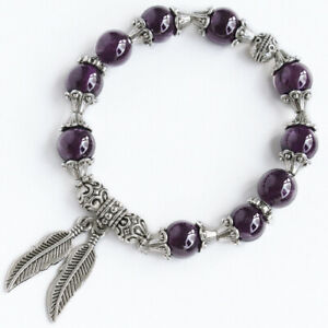10mm Natural Purple Amethyst Beads Bracelet DCY16