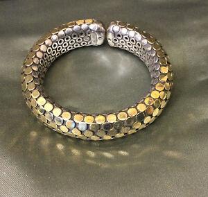 JOHN HARDY Thick Single Coil M Dot 18k 925 Stretch Bracelet