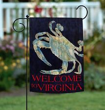 New Toland - Summer Blues Welcome to Virginia - Rustic Crab Garden Flag