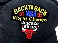 NWOT Chicago Bulls Snapback Hat Back to Back '91 NBA '92 World Champs Black Cap