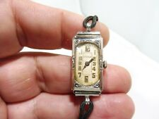 14K GOLD ART DECO ETERNA LADIES WRISTWATCH W CLOTH AND STERLING BAND WORKING