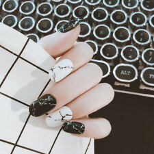 24pcs/pack marble false nails finger nails tips nail art design french with glue