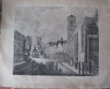 Antique Copper Engraving print of York's Pavement with church of St Crux!