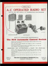 Rare Original 1928 SCO Automatic Radio Set Control Switch Dealer Sheet Page