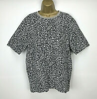 COS Top Size Medium UK 16 Patterned White Black Green Casual 100% Cotton